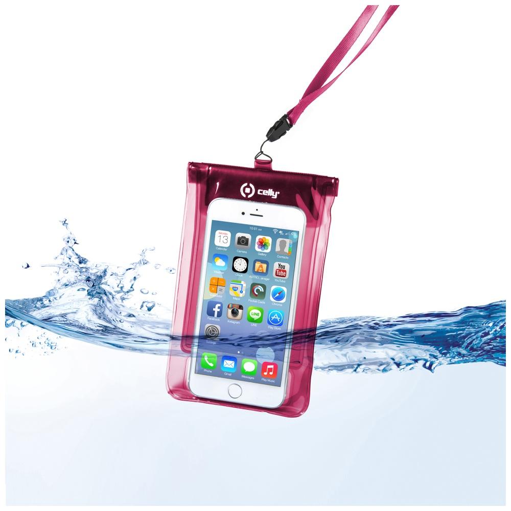 """CELLY Splash Bag Univerzální voděodolné pouzdro na telefony 5.7 """" růžové"""