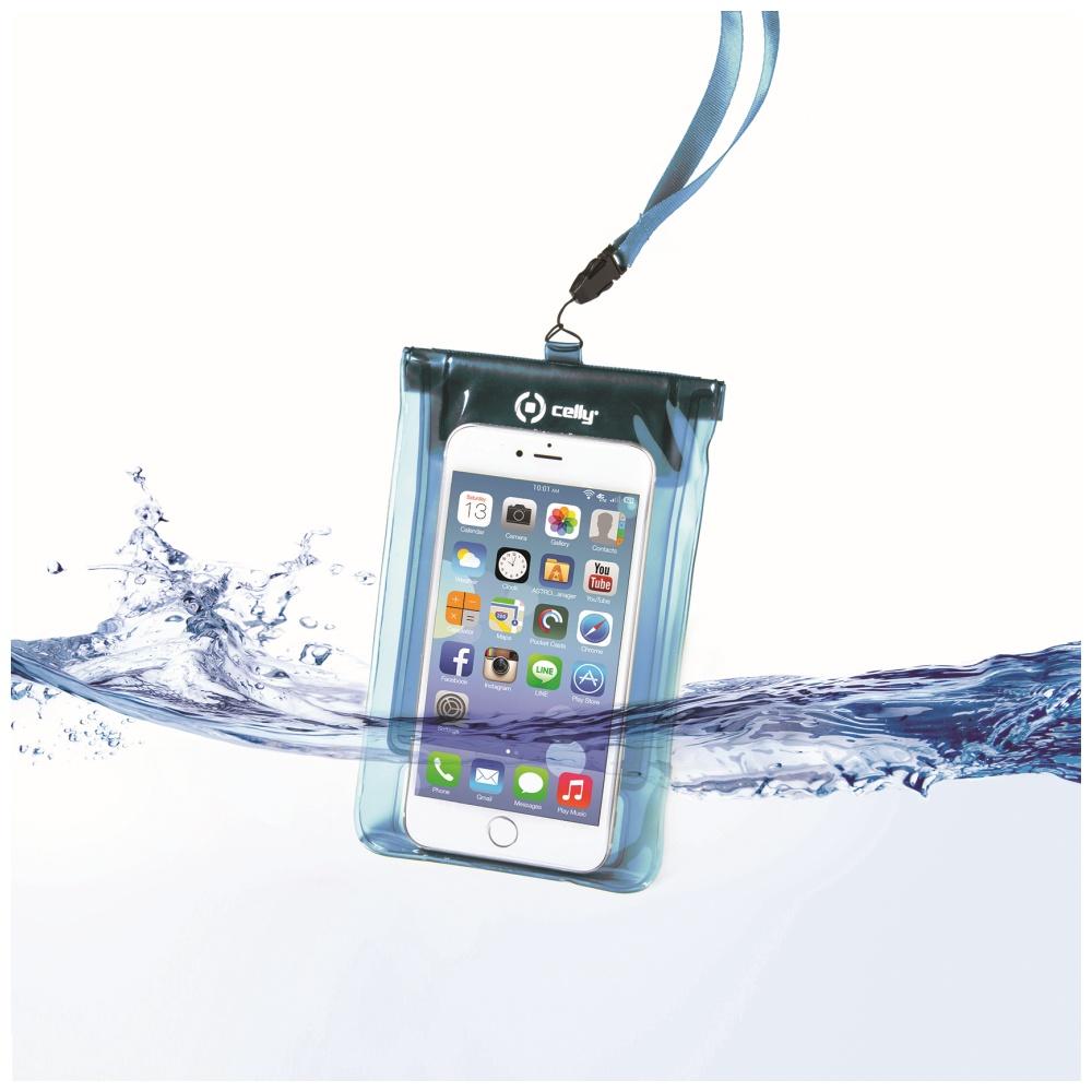"""CELLY Splash Bag Univerzální voděodolné pouzdro na telefony 5.7 """" modré"""