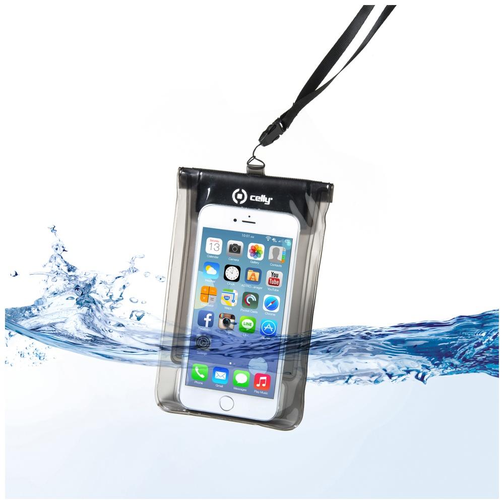 """CELLY Splash Bag Univerzální voděodolné pouzdro na telefony 5.7 """" černé"""