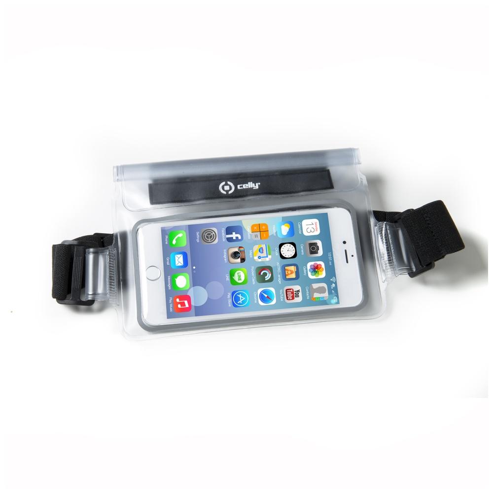 """CELLY Splash Belt voděodolné pouzdro kolem pasu na telefony 5.7"""" bílé"""