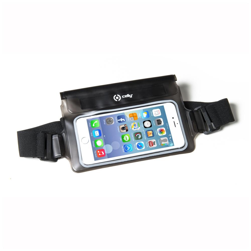 """CELLY Splash Belt voděodolné pouzdro kolem pasu na telefony 5.7"""" černé"""