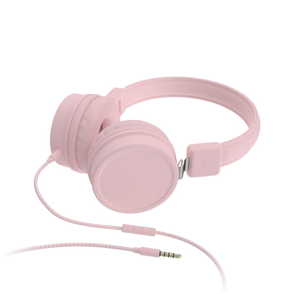 Sluchátka KITSOUND BROOKLYN s mikrofonem 3,5 mm jack růžová