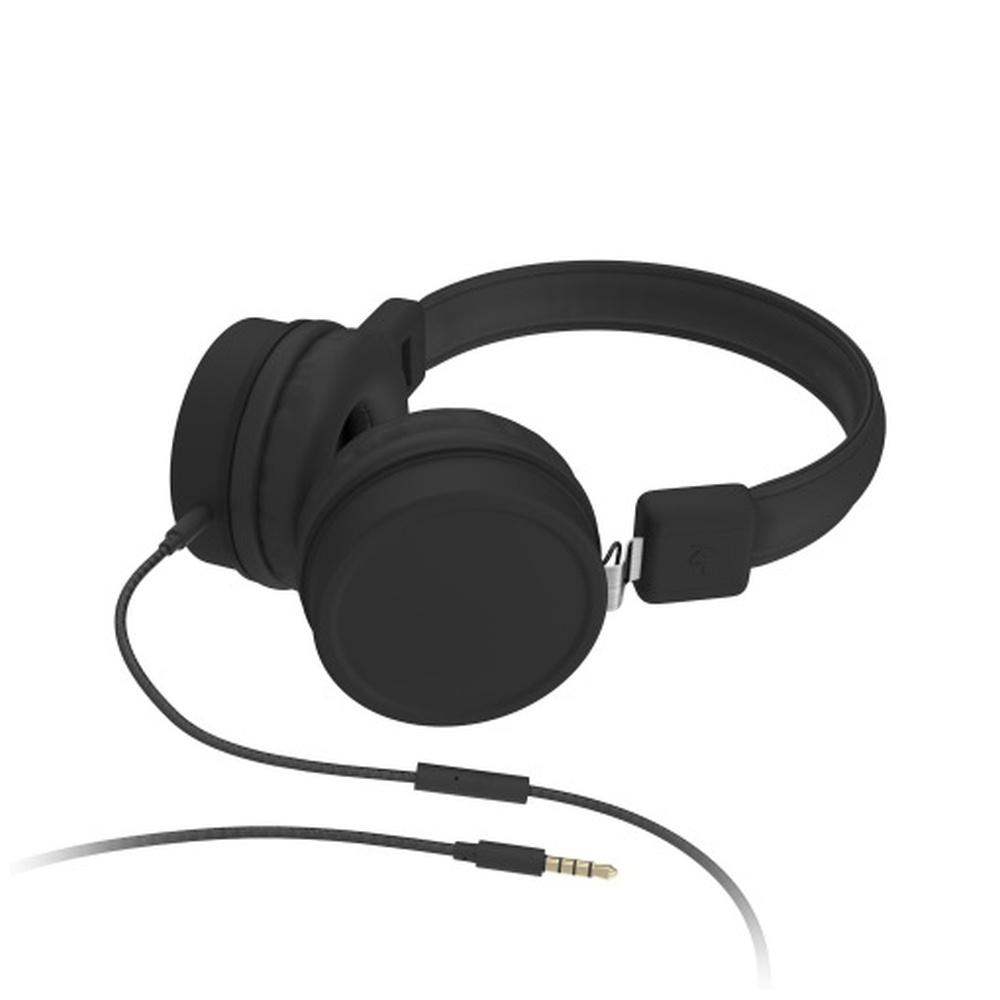 Sluchátka KITSOUND BROOKLYN s mikrofonem 3,5 mm jack černá