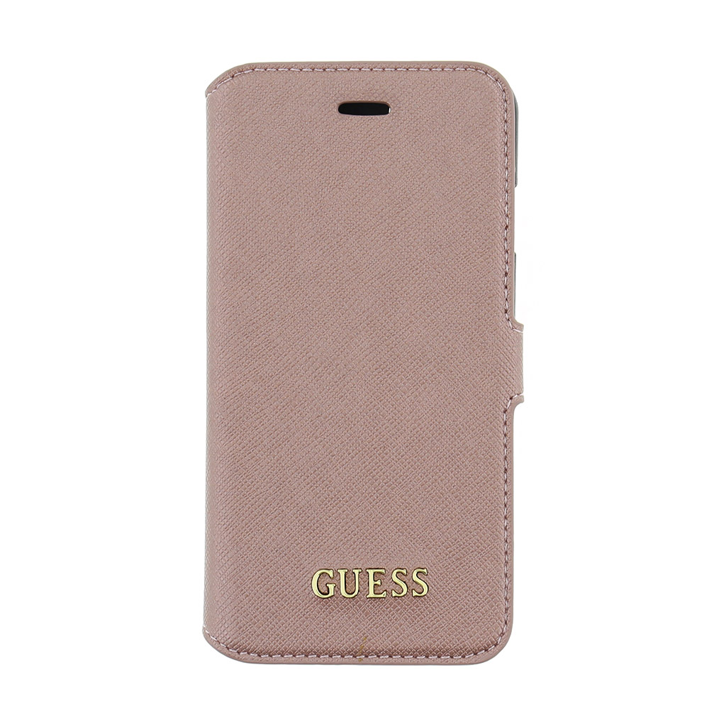 Guess Saffiano pouzdro flip GUFLBKP7TRO Apple iPhone 7 růžové