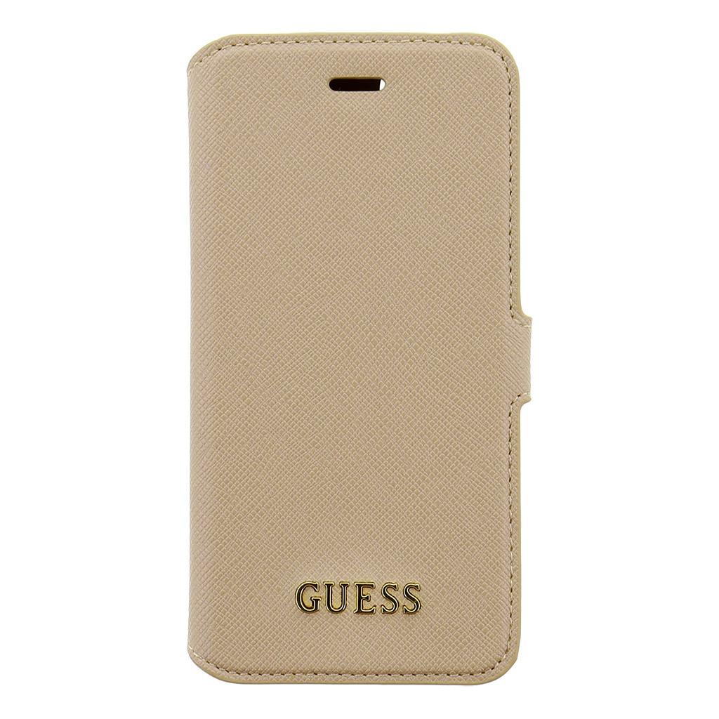 Guess Saffiano pouzdro flip GUFLBKP7TBE Apple iPhone 7 béžové