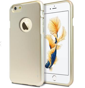 Silikonové pouzdro MERCURY iJELLY METAL HOLE pro APPLE IPHONE 6/6S, ZLATÉ