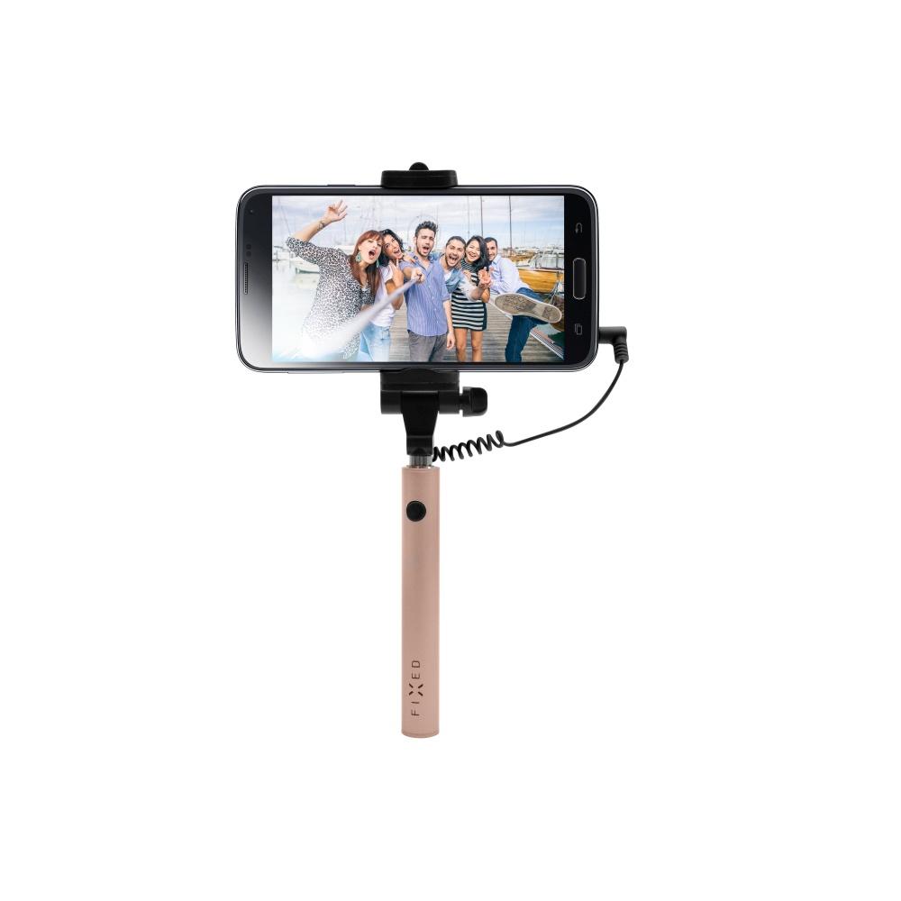 Kompaktní selfie tyč FIXED Snap Mini, rose gold
