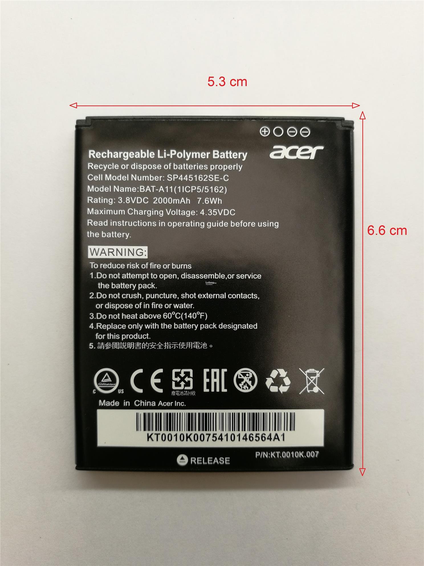 Baterie Acer A11 2000mAh Li-Pol (Bulk)