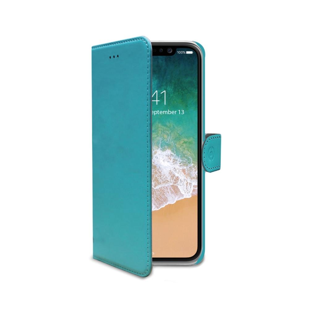 CELLY Wally pouzdro flip Apple iPhone X tyrkysová