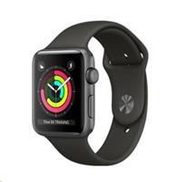 APPLE Watch Series 3 GPS, 38mm pouzdro z vesmírně šedého hliníku + šedý sportovní řemínek