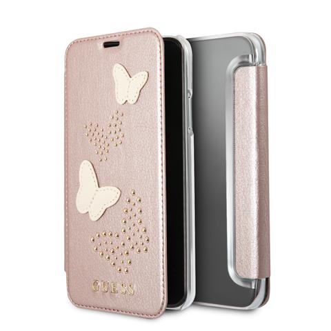 Guess Studs and Sparkle GUFLBKPXPBURG pouzdro flip Apple iPhone X rose gold
