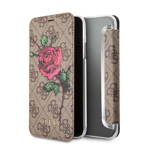 Pouzdro Guess 4G Flower Desire Apple iPhone X, brown GUFLBKPX4GROB