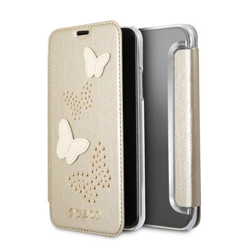 Guess Studs and Sparkle GUFLBKPXPBUBE pouzdro flip Apple iPhone X beige