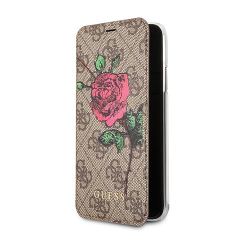 Guess Flower Desire 4G pouzdro flip GUFLBKP74GROB Apple iPhone 7/8 brown