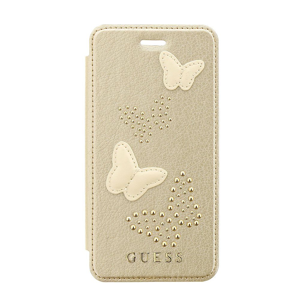 Guess Studs and Sparkle pouzdro flip GUFLBKP7PBUBE Apple iPhone 7/8 beige
