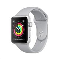 APPLE Watch Series 3 GPS, 38mm pouzdro ze stříbrného hliníku + mlhově šedý sportovní řemínek