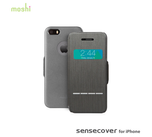 Moshi SenseCover pouzdro flip Apple iPhone 5/5s/SE steel black