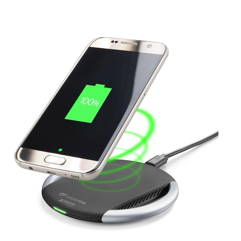 Bezdrátová rychlá nabíječka Cellularline WIRELESSPAD ADAPTIVE, Qi standard, černo-stříbrná