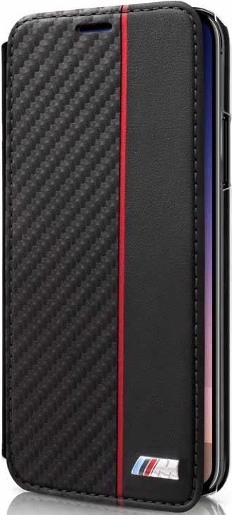 BMW Carbon Book BMBKTRPXCAPRBK pouzdro flip Apple iPhone X transparent/black