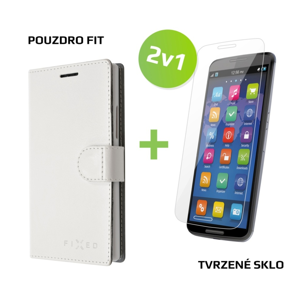 Balíček FIXED 2v1 pro Lenovo Vibe K5 K5 Plus - Pouzdro typu kniha bílé +  sklo na displej 2f02969a96d