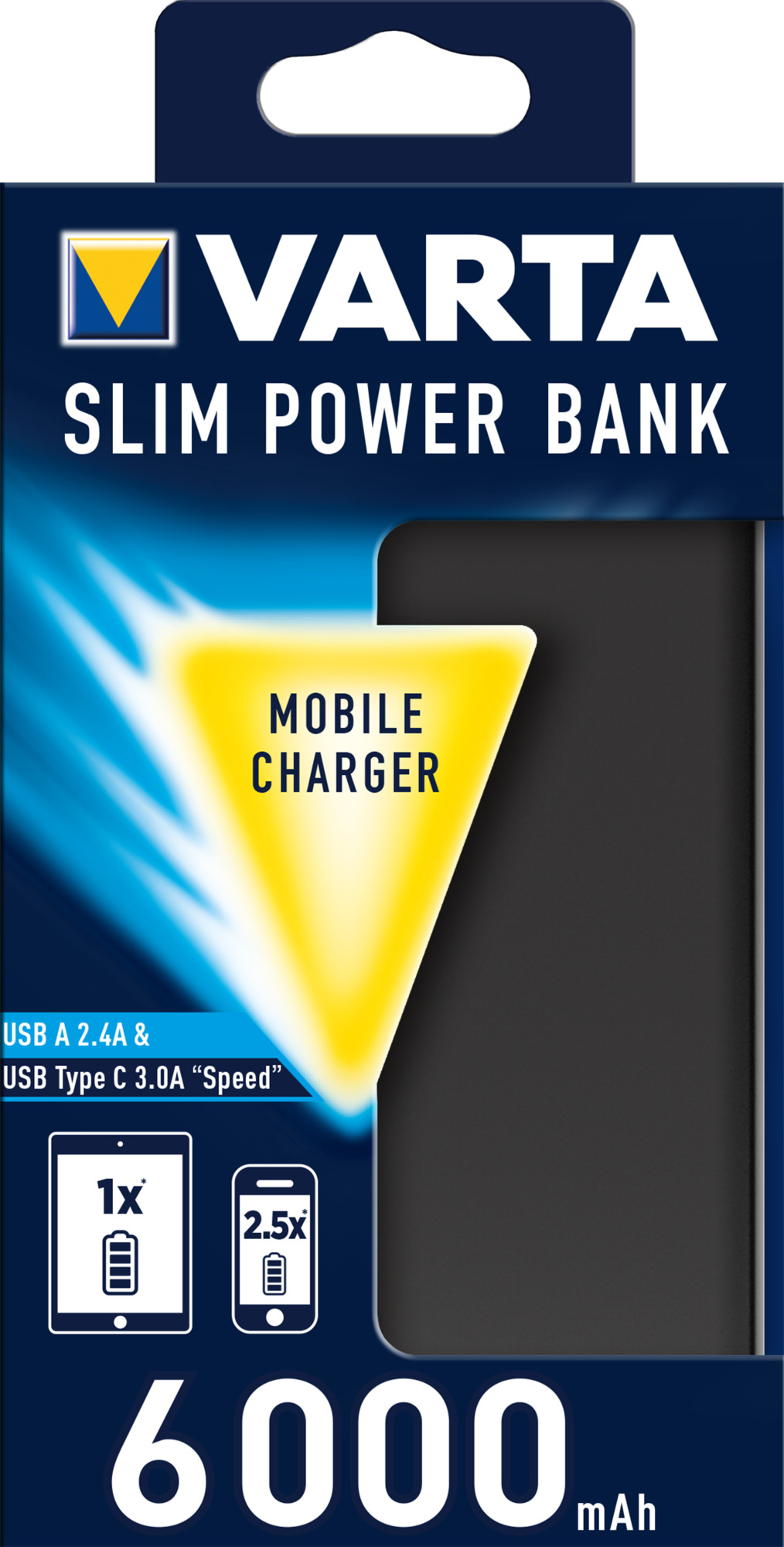 PowerBank VARTA Dual Type C Slim 6000mAh, black