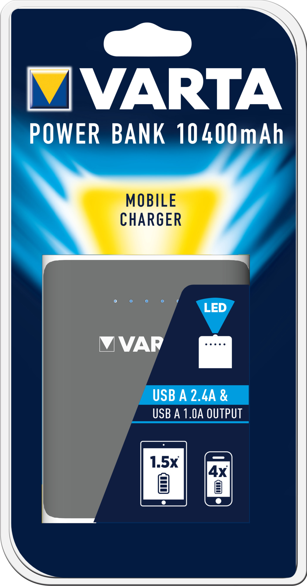 PowerBank VARTA Dual USB 10400mAh, black