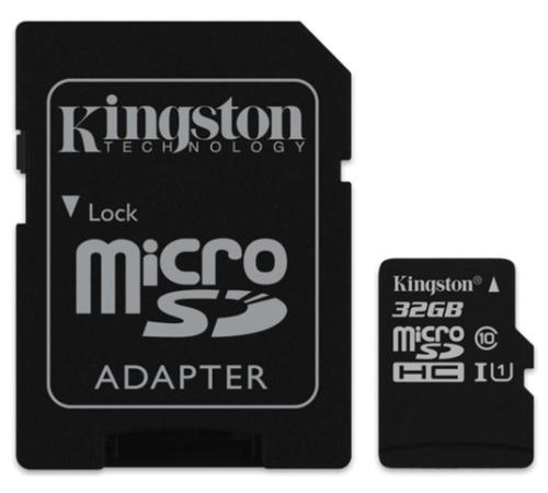 Paměťová karta Kingston CL10 32GB microSDHC, UHS-I 80R/10W (s adaptérem)