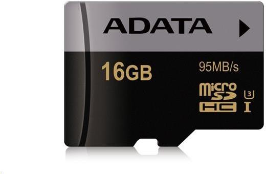 Paměťová karta ADATA MicroSDHC 16GB, U3 V30S, class 10 s adaptérem