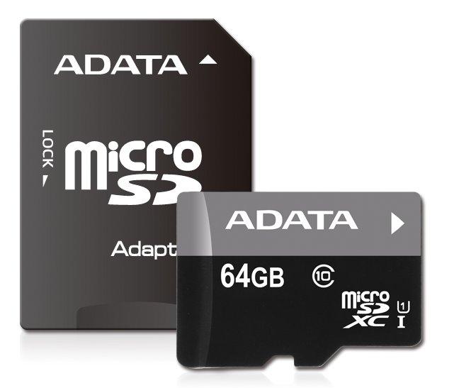 Paměťová karta ADATA Premier 64GB microSDXC, UHS-I CL10 A1 s adaptérem