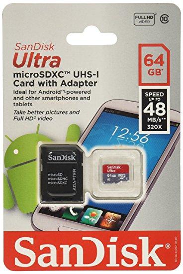 Paměťová karta SanDisk Ultra microSDXC 64GB, Class10 UHS-I s adaptérem (EU Blister)