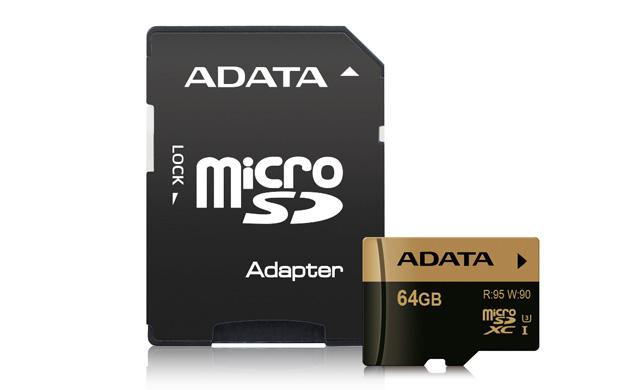 Paměťová karta ADATA 64GB microSDXC, UHS-I U3, class 10 s adaptérem