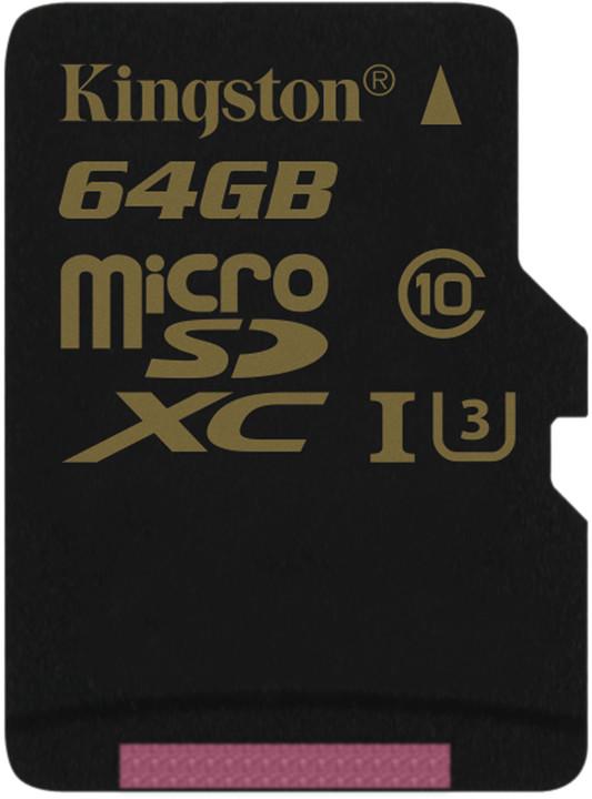Paměťová karta Kingston microSDHC 64GB, UHS-I U3, class 10