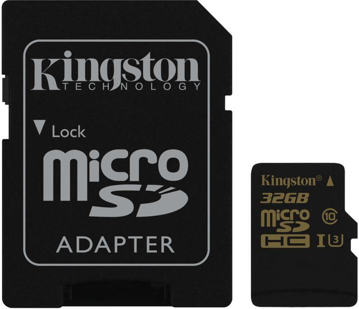 Paměťová karta Kingston microSDHC 32GB, UHS-I U3, class 10 s adaptérem