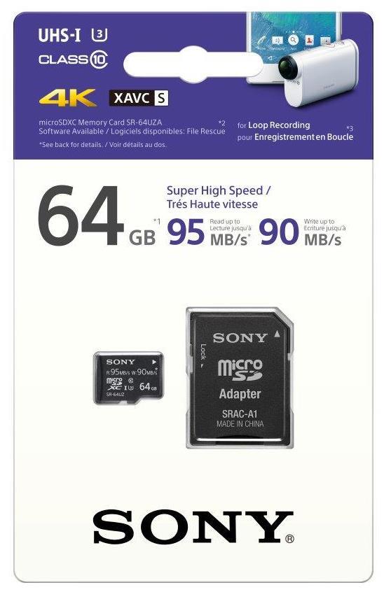 Paměťová karta SONY microSD SR64UZ 64GB, class10, UHS-I s adaptérem