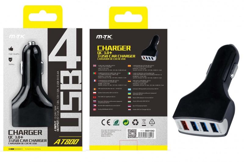 Nabíječka do auta Aligator PLUS AT800, 4xUSB, Quick Charge 3.0, 3,4A, černá