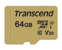 Paměťová karta TRANSCEND Micro SDXC 500S 64GB UHS-I U3 V30 + adaptér