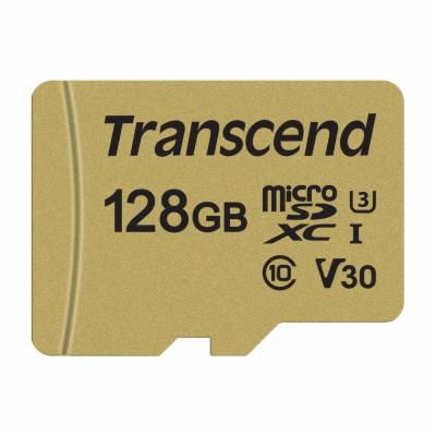 Paměťová karta TRANSCEND Micro SDXC 500S 128GB UHS-I U3 V30 + adaptér