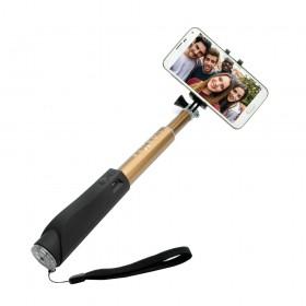 Teleskopický selfie stick FIXED v luxusním hliníkovém provedení s BT spouští, zlatý,rozbaleno