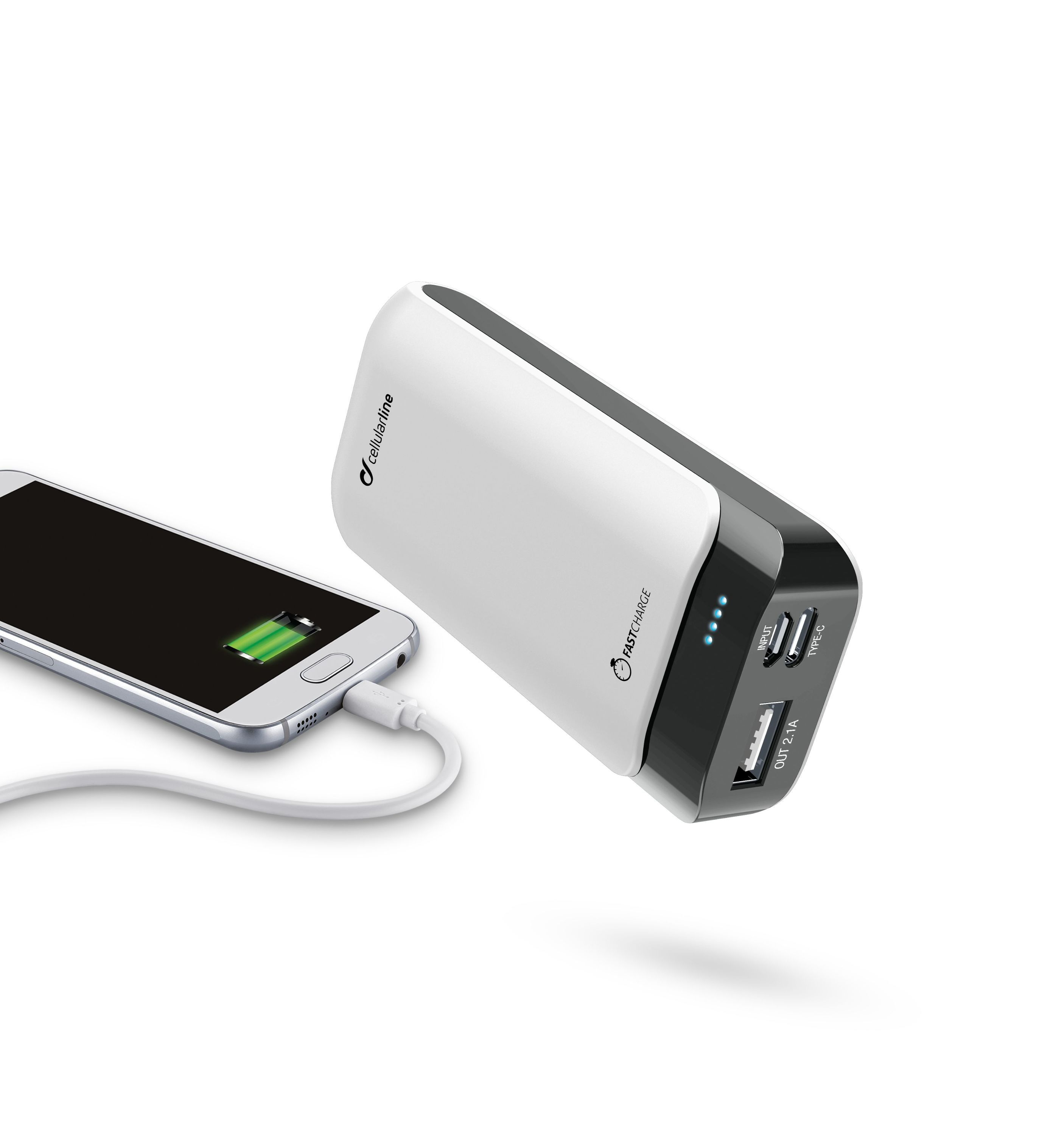 Powerbanka CellularLine PowerUp 5200mAh bílá