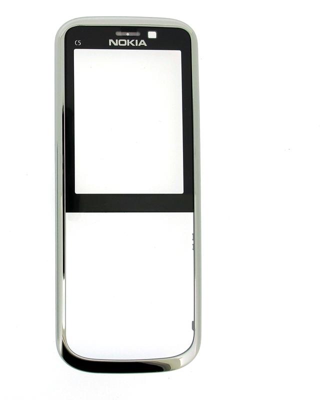 Přední kryt Nokia C5 White Silver