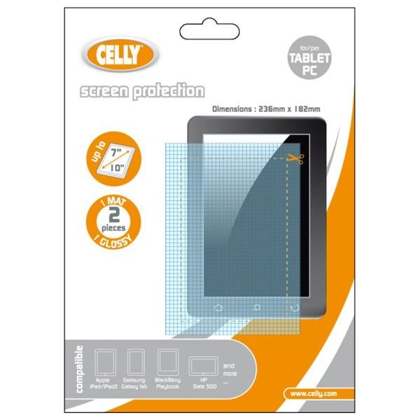 """Screen protector CELLY ochranná folie pro displej tabletu do 10"""" (236x182mm) 1 matná+1 lesklá"""