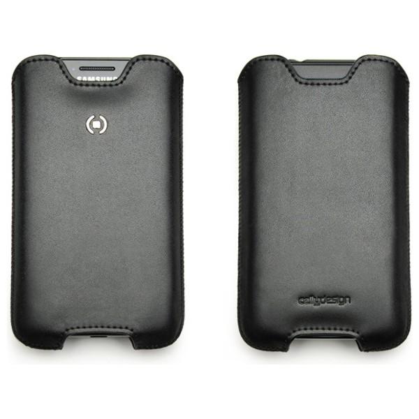 Univerzální ochranné kožené pouzdro CELLY IFIT, velikost XL - Samsung Galaxy SII, černé