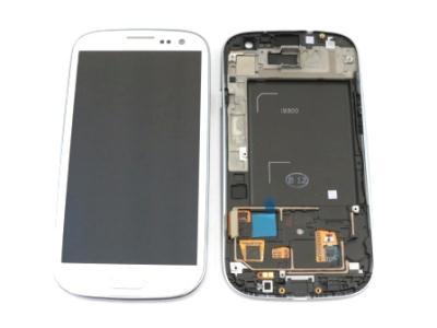 LCD displej + dotyková deska + přední kryt White pro Samsung i9300 Galaxy S3 - originál
