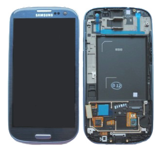 LCD displej + dotyková plocha + přední kryt Blue pro i9300 Galaxy S3 - originál