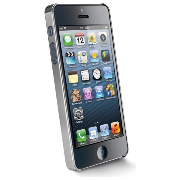 Chromový kryt CellularLine CHROME pro Apple iPhone 5 + folie, stříbrný